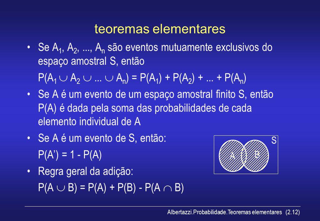 teoremas elementares Se A1, A2, ..., An são eventos mutuamente exclusivos do espaço amostral S, então.