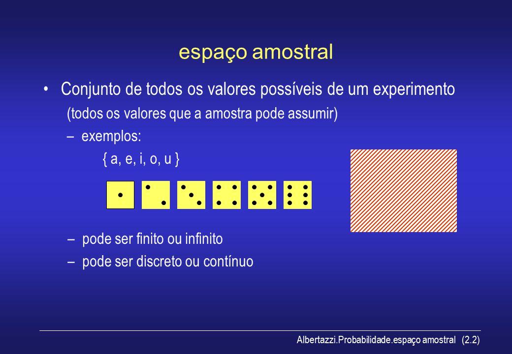 espaço amostral Conjunto de todos os valores possíveis de um experimento. (todos os valores que a amostra pode assumir)