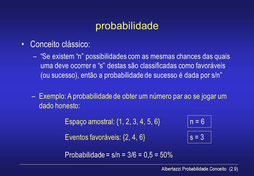 probabilidade Conceito clássico: