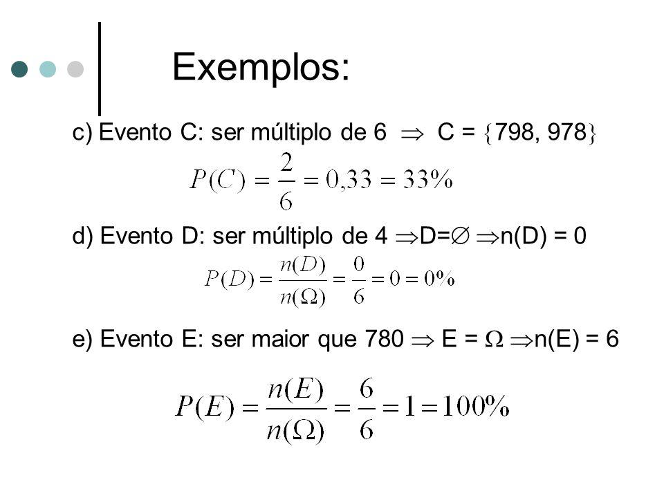Exemplos: c) Evento C: ser múltiplo de 6  C = 798, 978