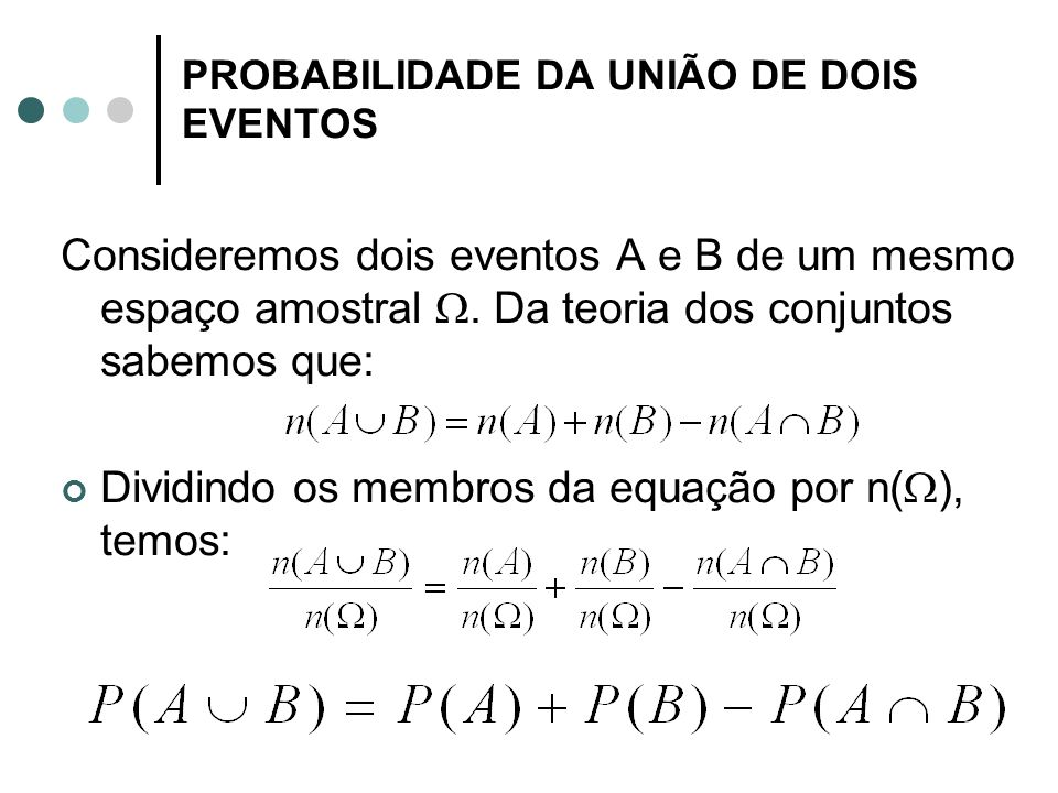 PROBABILIDADE DA UNIÃO DE DOIS EVENTOS
