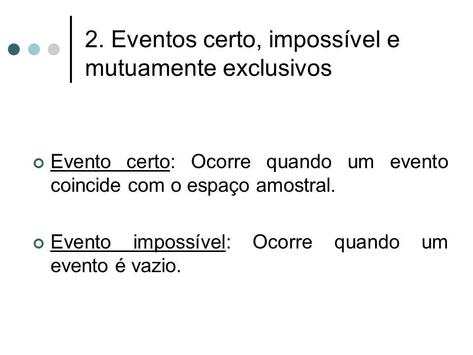2. Eventos certo, impossível e mutuamente exclusivos