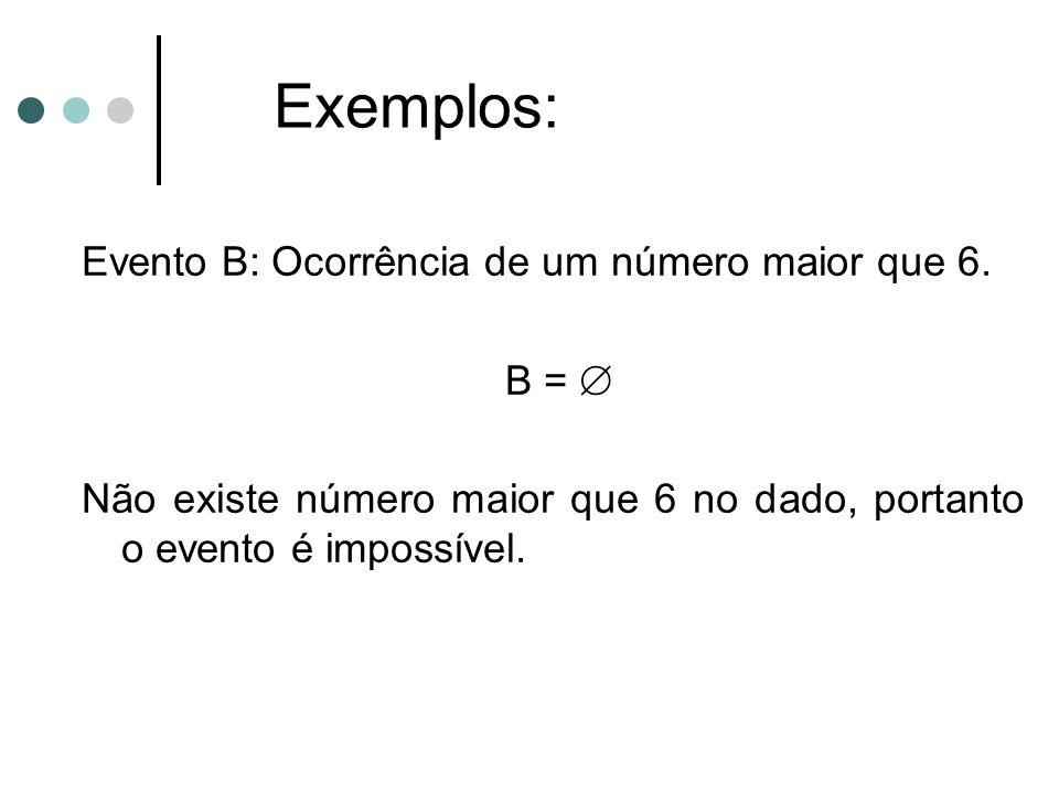 Exemplos: Evento B: Ocorrência de um número maior que 6.