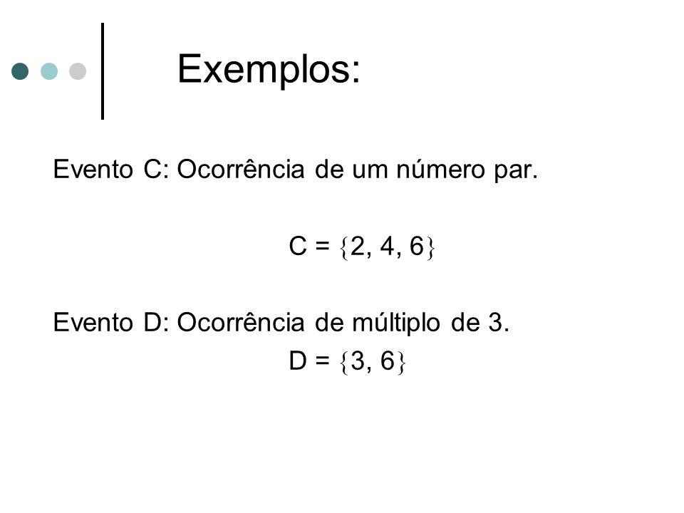 Exemplos: Evento C: Ocorrência de um número par.