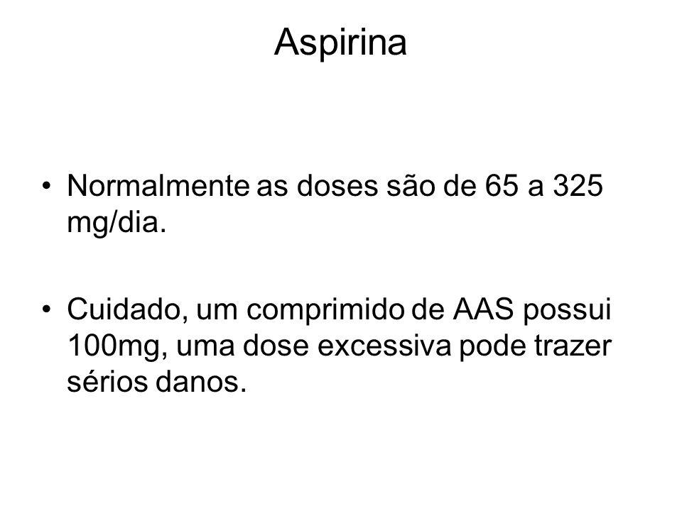 Aspirina Normalmente as doses são de 65 a 325 mg/dia.