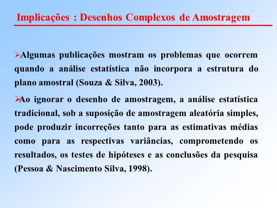 Implicações : Desenhos Complexos de Amostragem