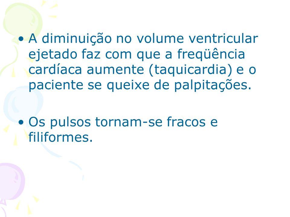 A diminuição no volume ventricular ejetado faz com que a freqüência cardíaca aumente (taquicardia) e o paciente se queixe de palpitações.