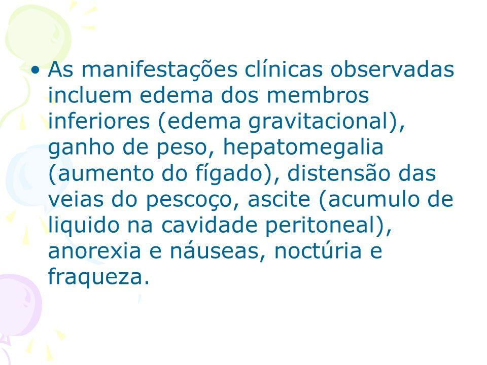 As manifestações clínicas observadas incluem edema dos membros inferiores (edema gravitacional), ganho de peso, hepatomegalia (aumento do fígado), distensão das veias do pescoço, ascite (acumulo de liquido na cavidade peritoneal), anorexia e náuseas, noctúria e fraqueza.