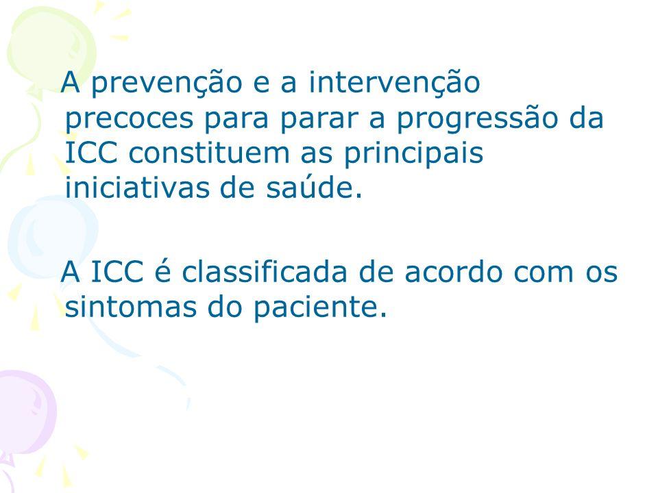 A prevenção e a intervenção precoces para parar a progressão da ICC constituem as principais iniciativas de saúde.