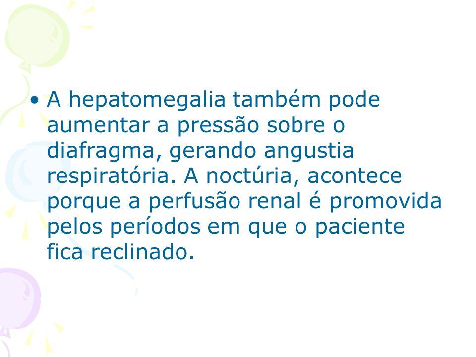 A hepatomegalia também pode aumentar a pressão sobre o diafragma, gerando angustia respiratória.