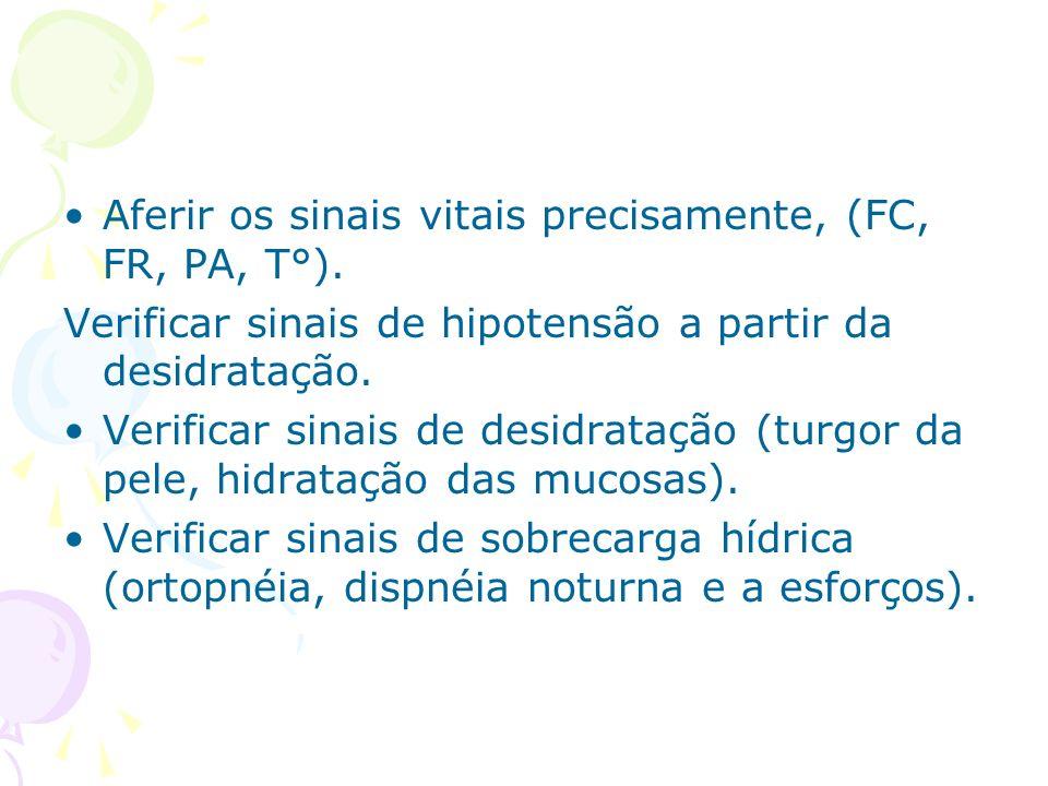 Aferir os sinais vitais precisamente, (FC, FR, PA, T°).