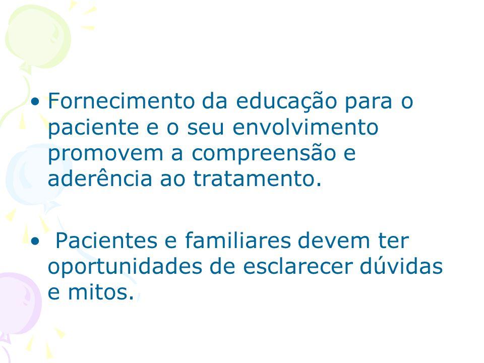 Fornecimento da educação para o paciente e o seu envolvimento promovem a compreensão e aderência ao tratamento.
