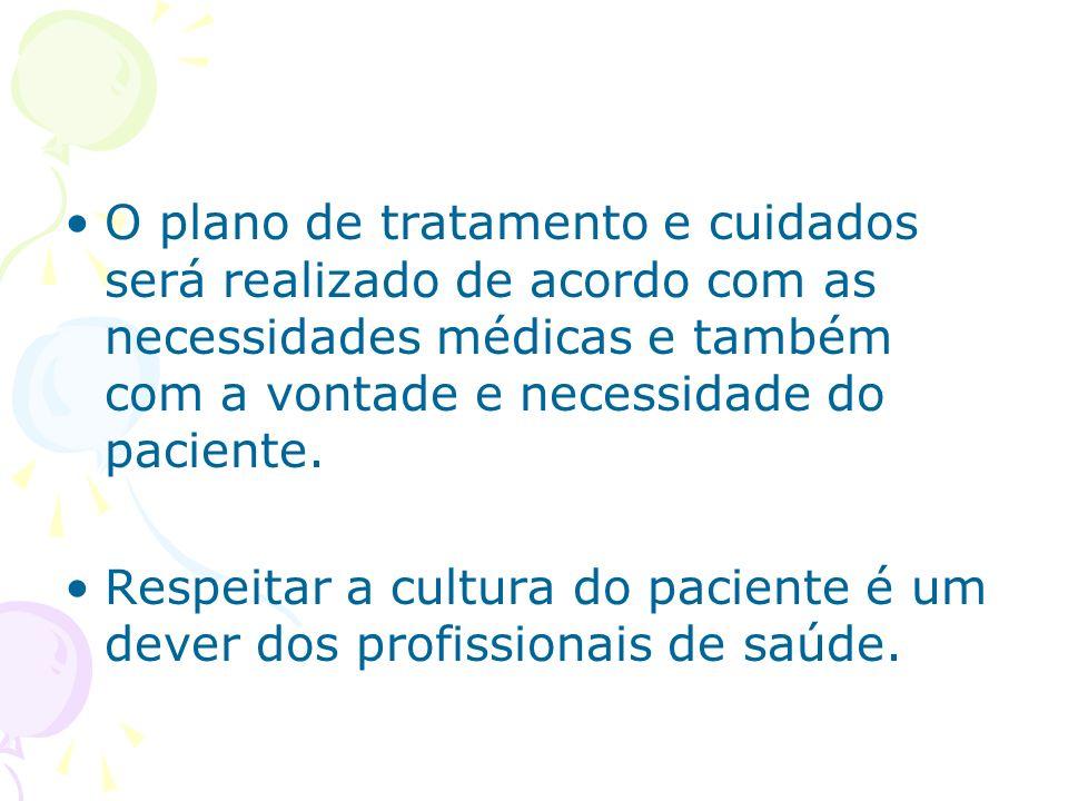 O plano de tratamento e cuidados será realizado de acordo com as necessidades médicas e também com a vontade e necessidade do paciente.