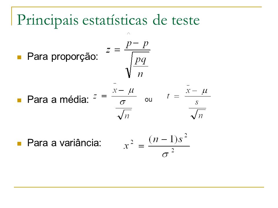 Principais estatísticas de teste
