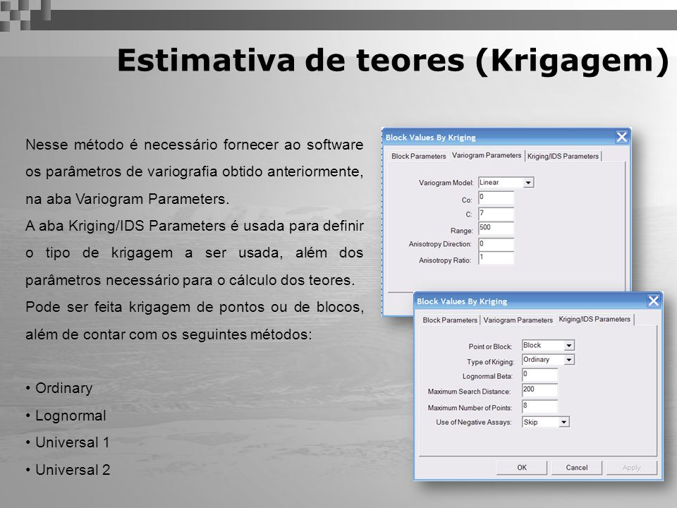 Estimativa de teores (Krigagem)