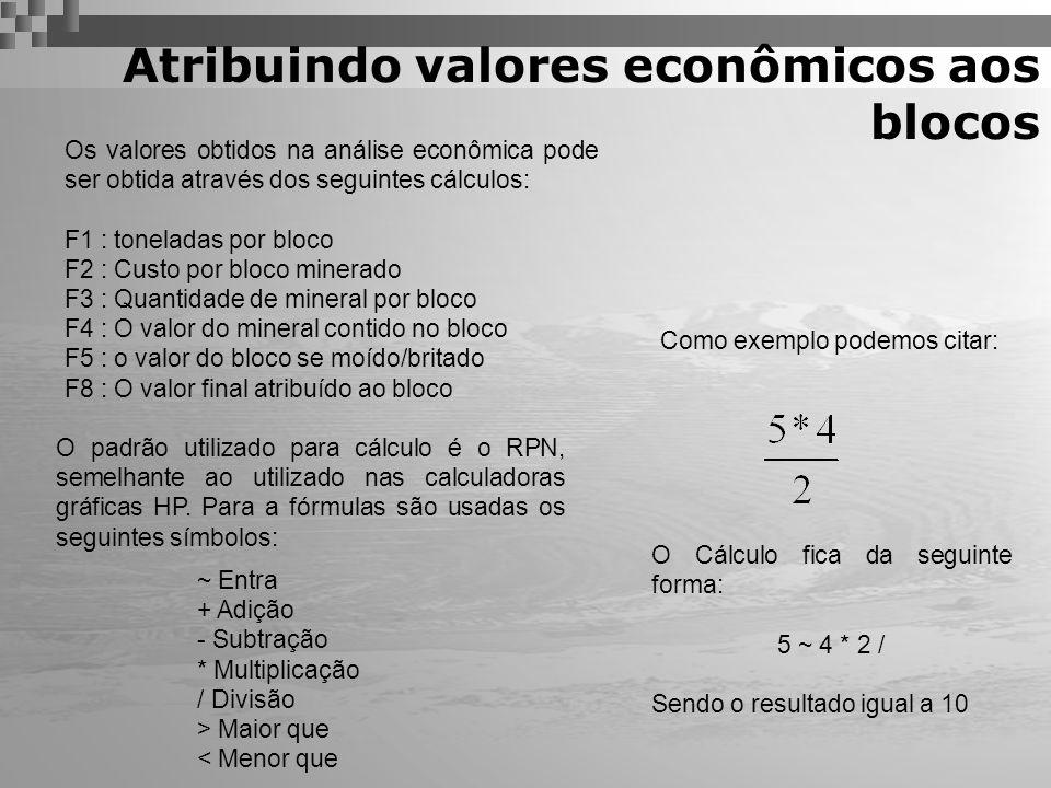Atribuindo valores econômicos aos blocos