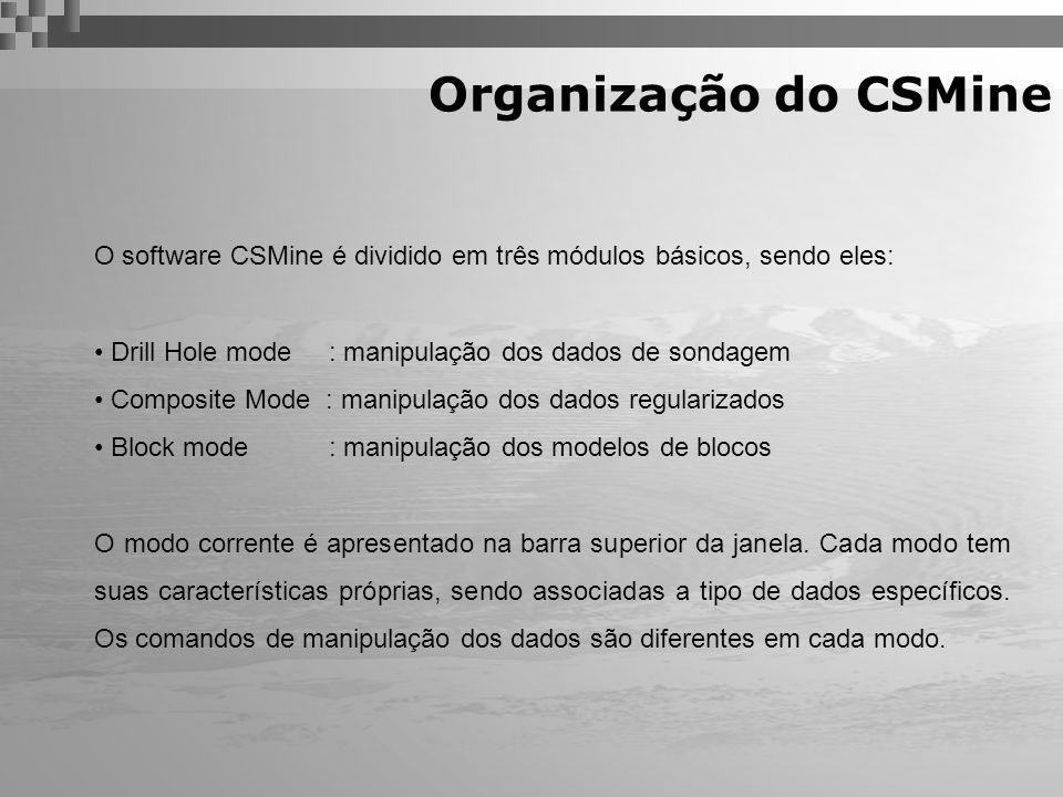Organização do CSMine O software CSMine é dividido em três módulos básicos, sendo eles: Drill Hole mode : manipulação dos dados de sondagem.