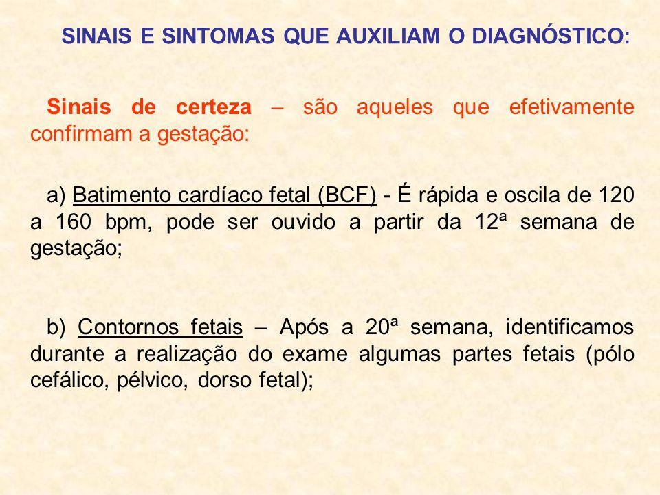 SINAIS E SINTOMAS QUE AUXILIAM O DIAGNÓSTICO: