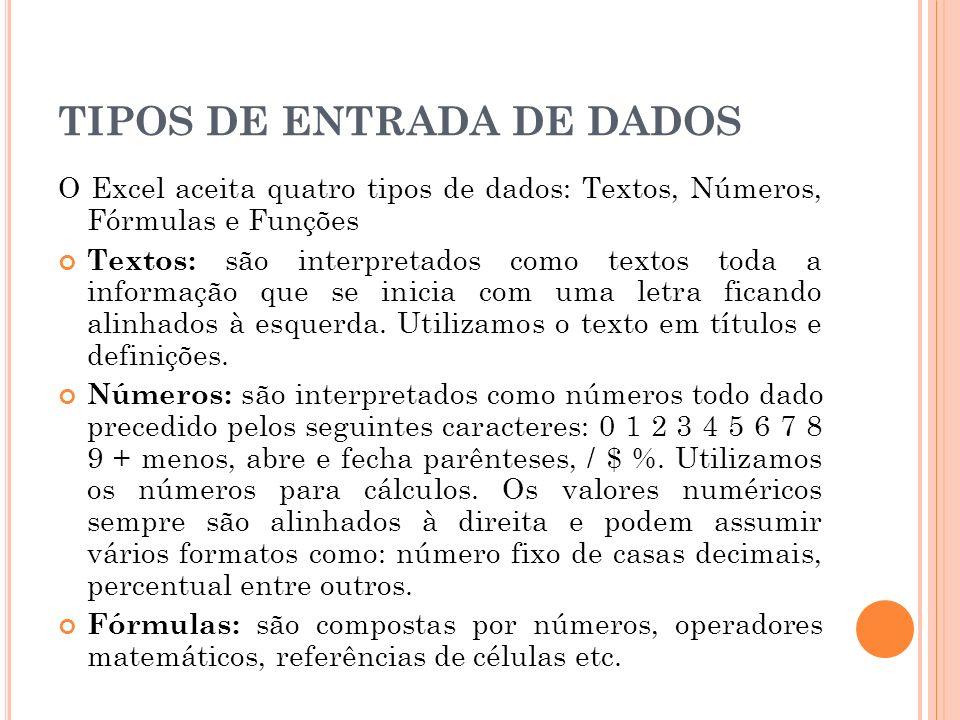 TIPOS DE ENTRADA DE DADOS