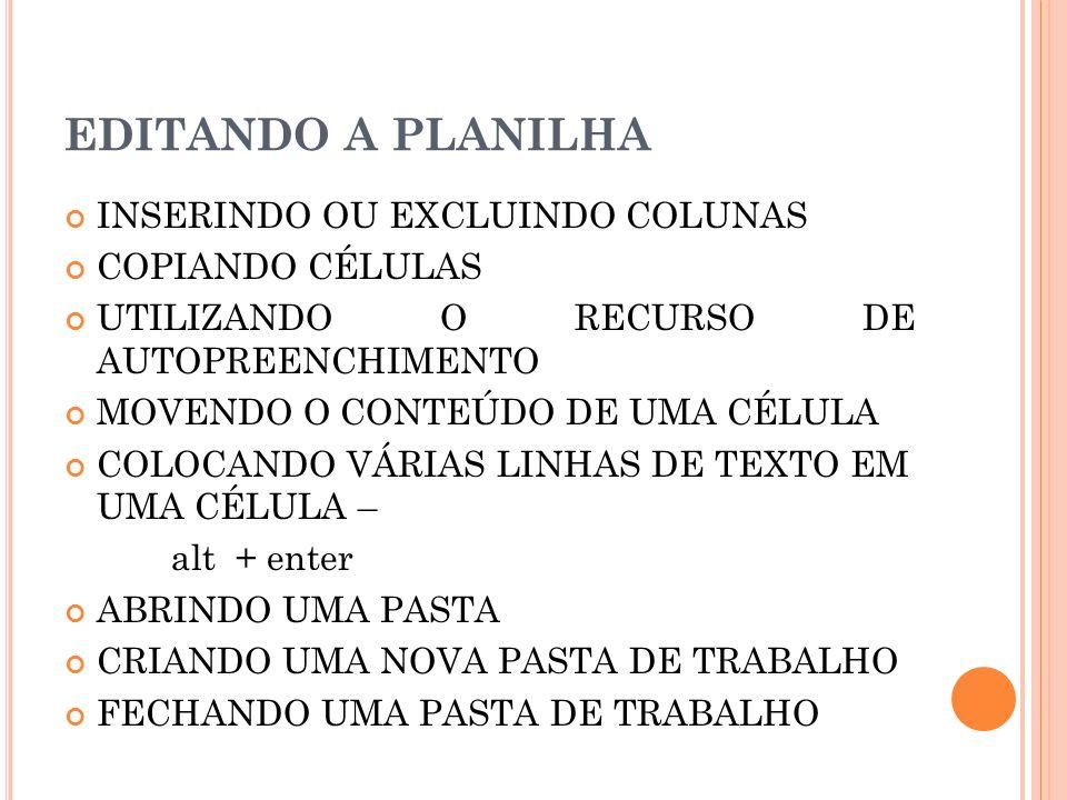 EDITANDO A PLANILHA INSERINDO OU EXCLUINDO COLUNAS COPIANDO CÉLULAS