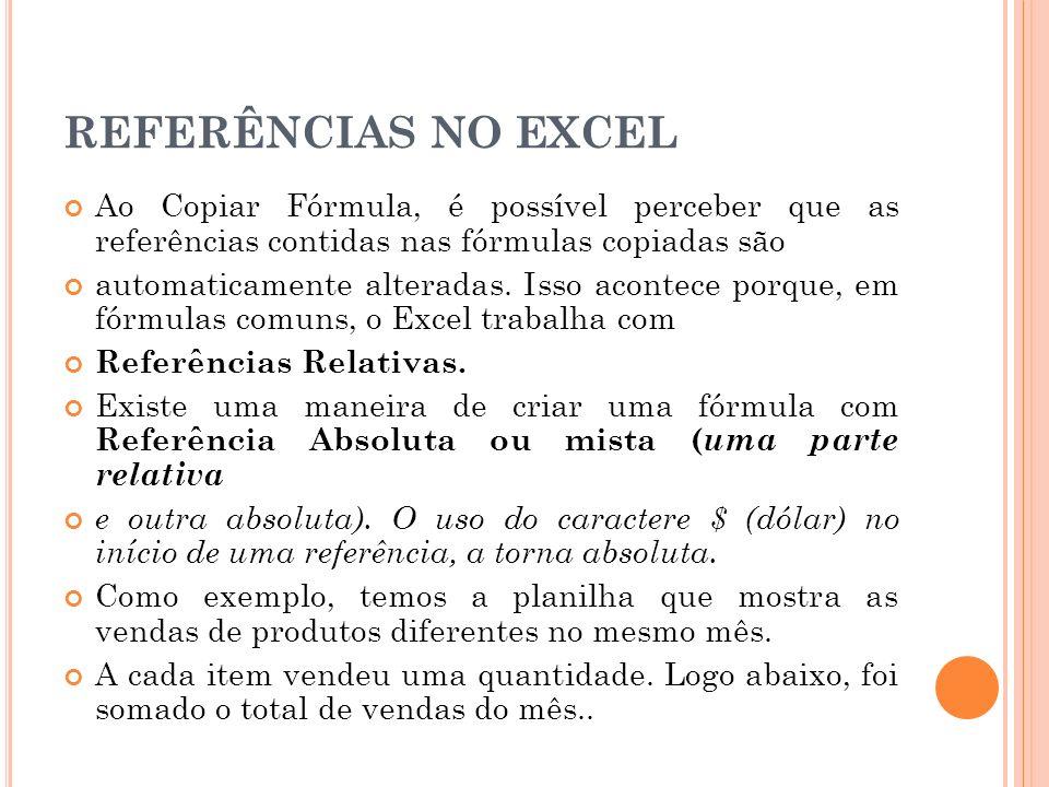 REFERÊNCIAS NO EXCEL Ao Copiar Fórmula, é possível perceber que as referências contidas nas fórmulas copiadas são.