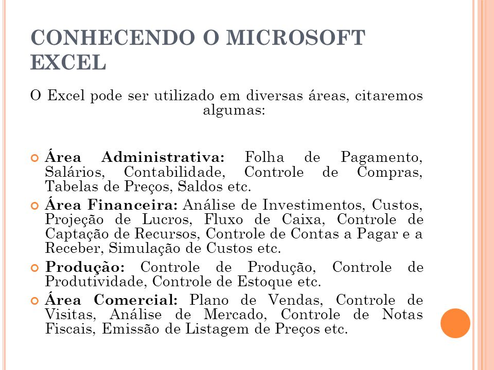 CONHECENDO O MICROSOFT EXCEL
