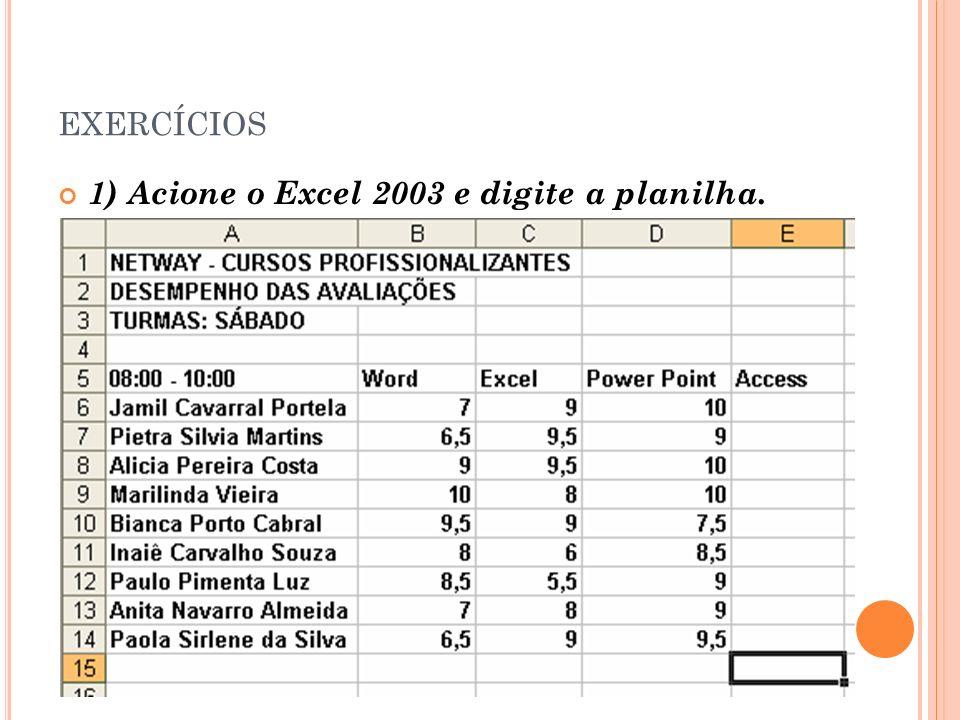 exercícios 1) Acione o Excel 2003 e digite a planilha.