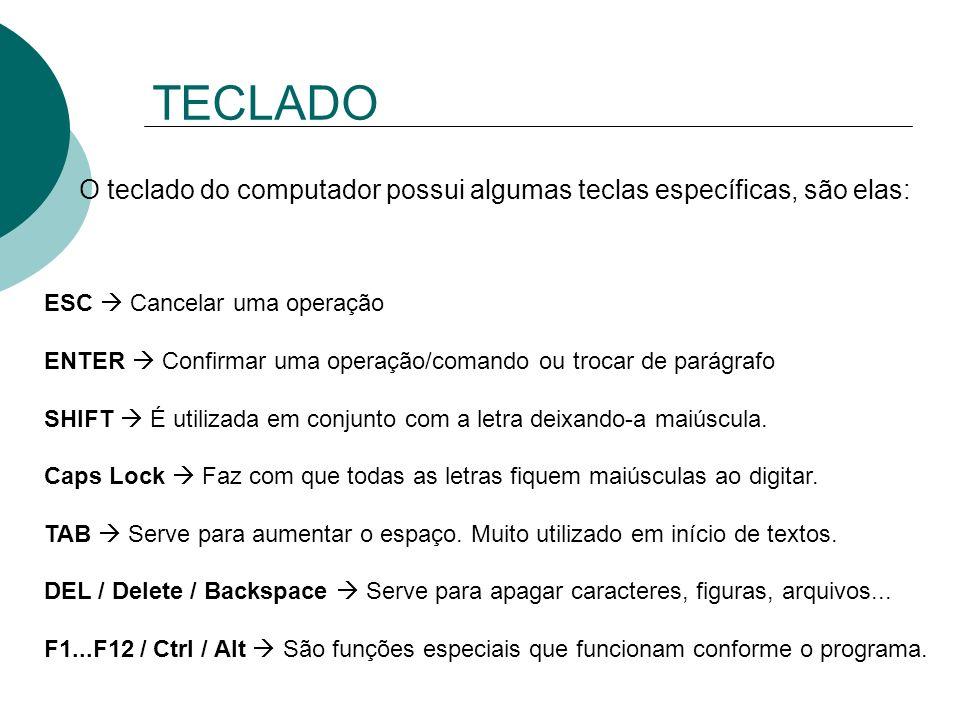 TECLADO O teclado do computador possui algumas teclas específicas, são elas: ESC  Cancelar uma operação.