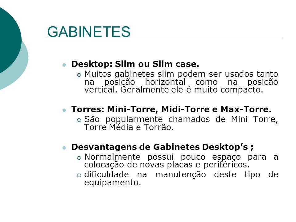 GABINETES Desktop: Slim ou Slim case.