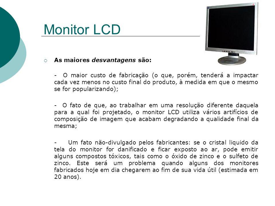 Monitor LCD As maiores desvantagens são: