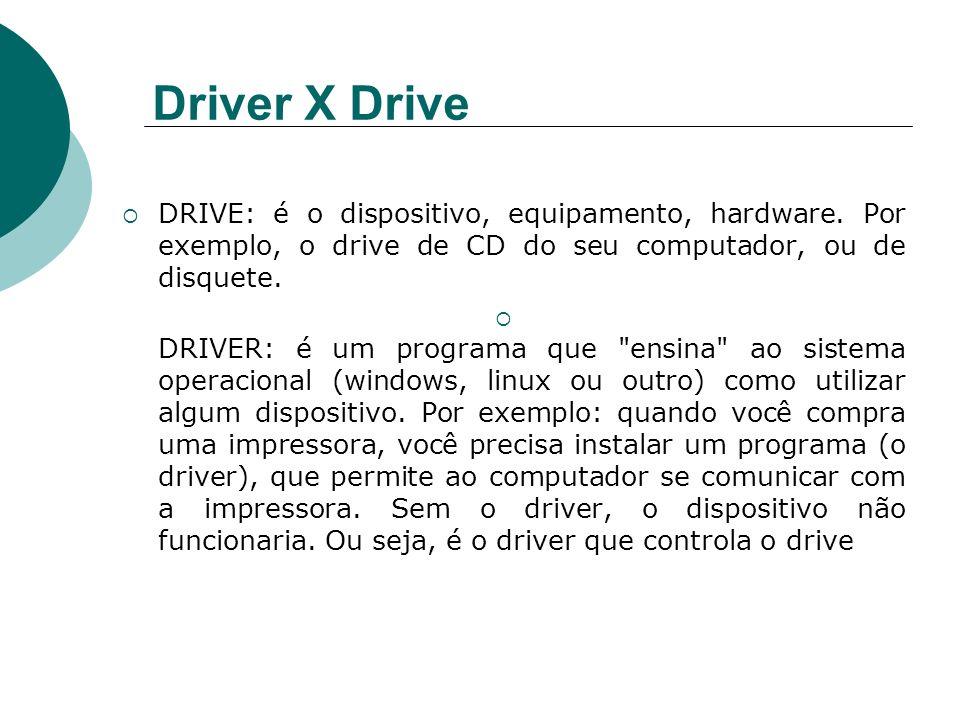 Driver X DriveDRIVE: é o dispositivo, equipamento, hardware. Por exemplo, o drive de CD do seu computador, ou de disquete.