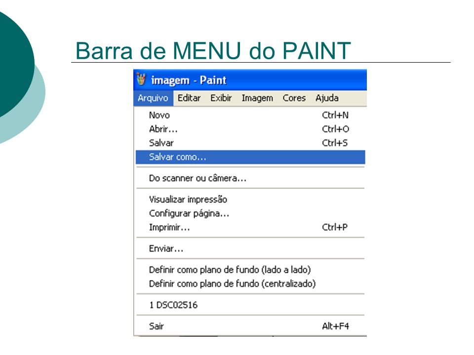 Barra de MENU do PAINT