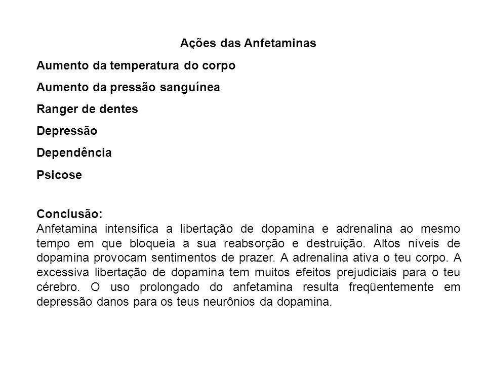 Ações das AnfetaminasAumento da temperatura do corpo. Aumento da pressão sanguínea. Ranger de dentes.