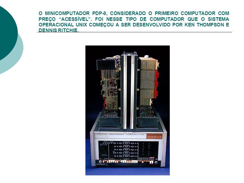 O MINICOMPUTADOR PDP-8, CONSIDERADO O PRIMEIRO COMPUTADOR COM PREÇO ACESSÍVEL .