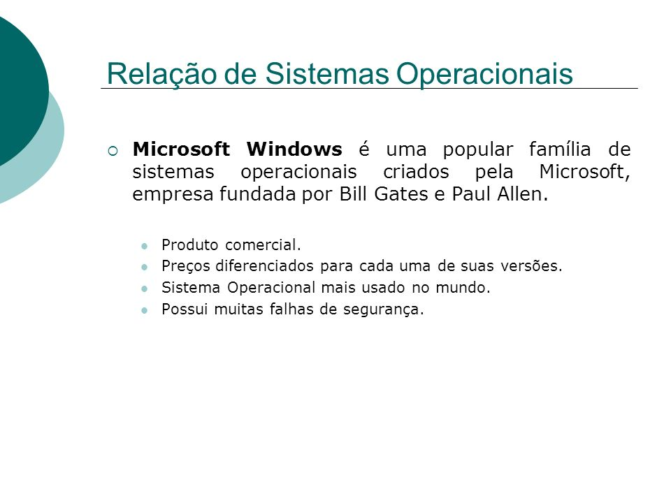 Relação de Sistemas Operacionais