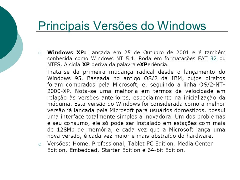 Principais Versões do Windows