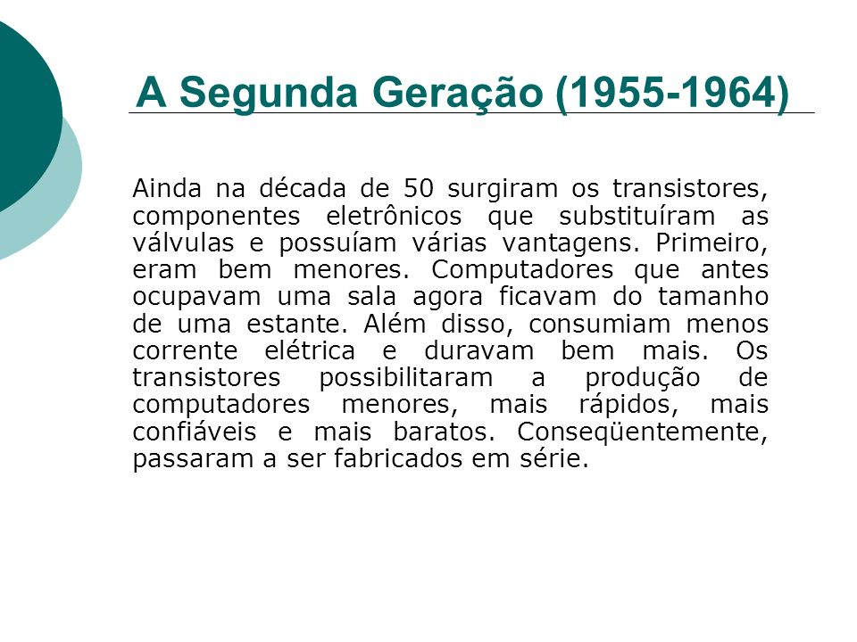 A Segunda Geração (1955-1964)