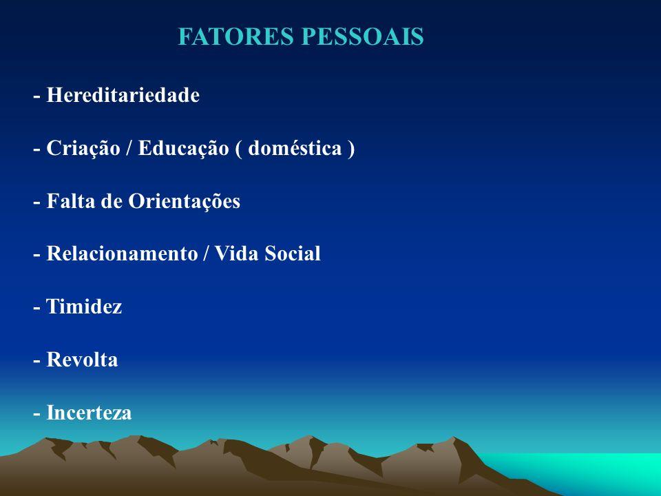 FATORES PESSOAIS - Hereditariedade - Criação / Educação ( doméstica )