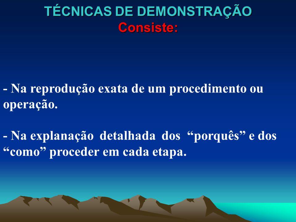 TÉCNICAS DE DEMONSTRAÇÃO Consiste: