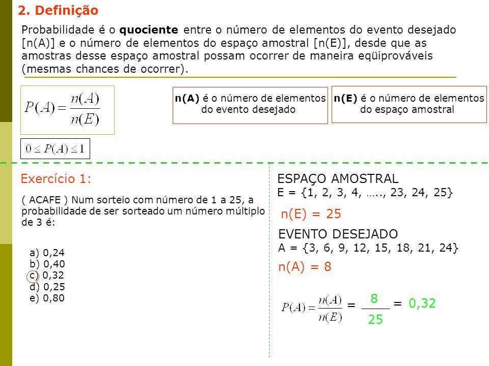 2. Definição Exercício 1: ESPAÇO AMOSTRAL n(E) = 25 EVENTO DESEJADO
