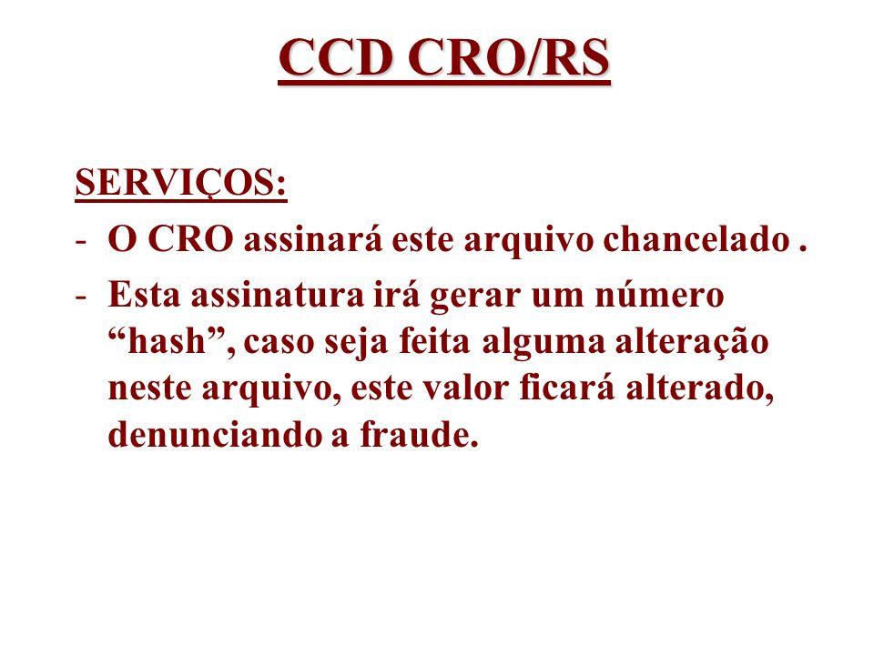 CCD CRO/RS SERVIÇOS: O CRO assinará este arquivo chancelado .