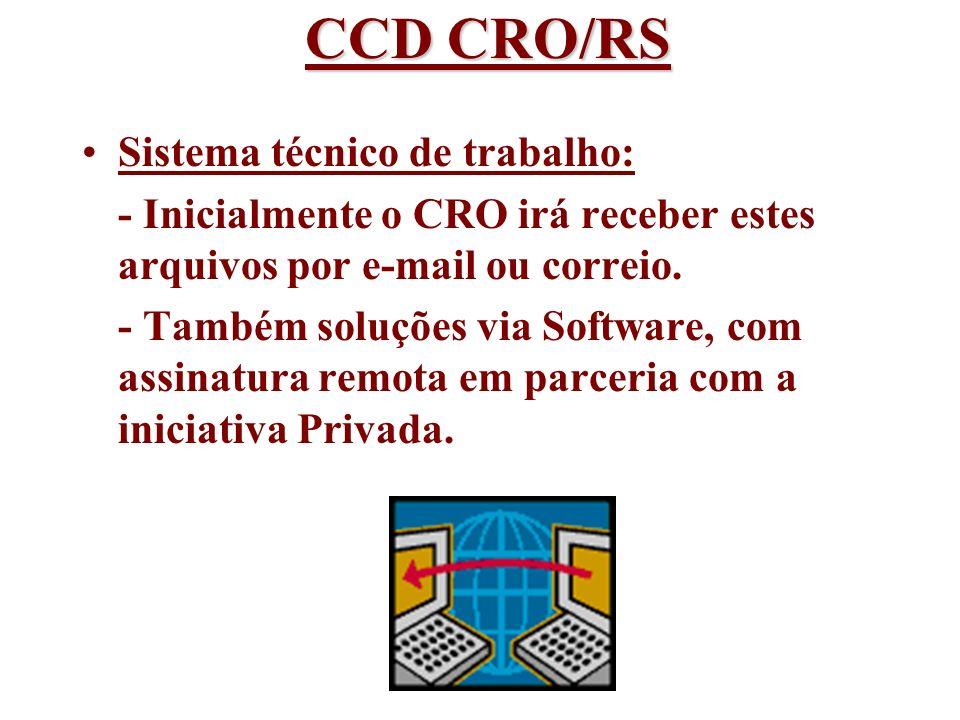 CCD CRO/RS Sistema técnico de trabalho: