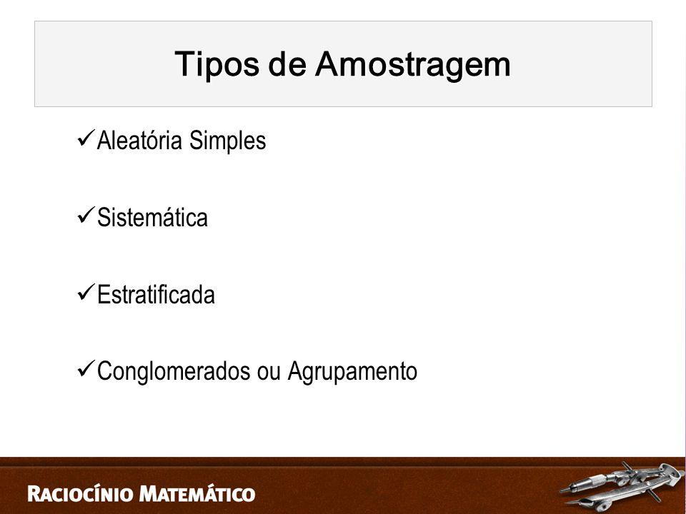 Tipos de Amostragem Aleatória Simples Sistemática Estratificada