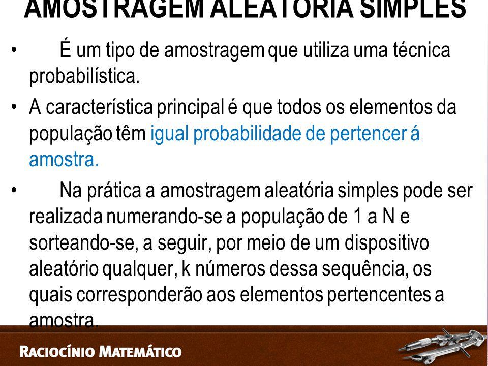 AMOSTRAGEM ALEATÓRIA SIMPLES