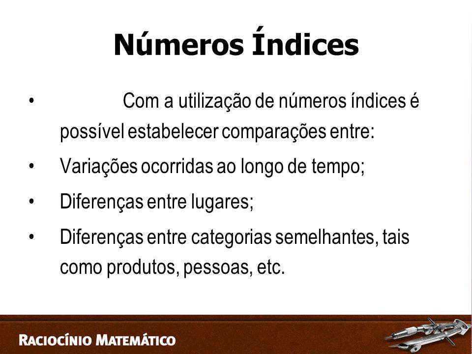 Números Índices Com a utilização de números índices é possível estabelecer comparações entre: Variações ocorridas ao longo de tempo;