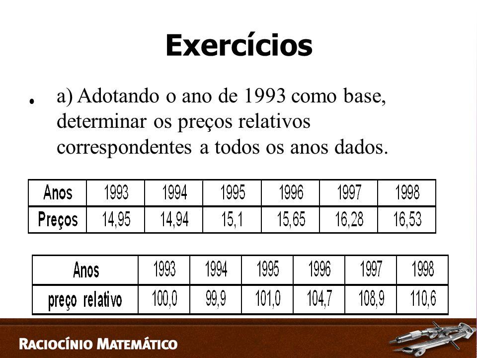 Exercícios a) Adotando o ano de 1993 como base, determinar os preços relativos correspondentes a todos os anos dados.