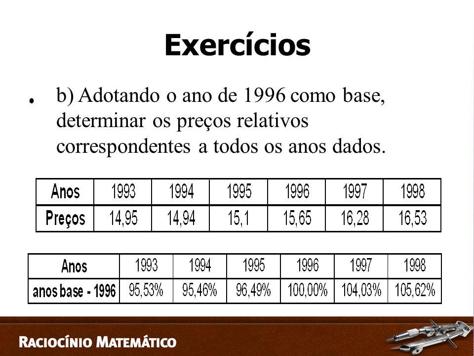 Exercícios b) Adotando o ano de 1996 como base, determinar os preços relativos correspondentes a todos os anos dados.
