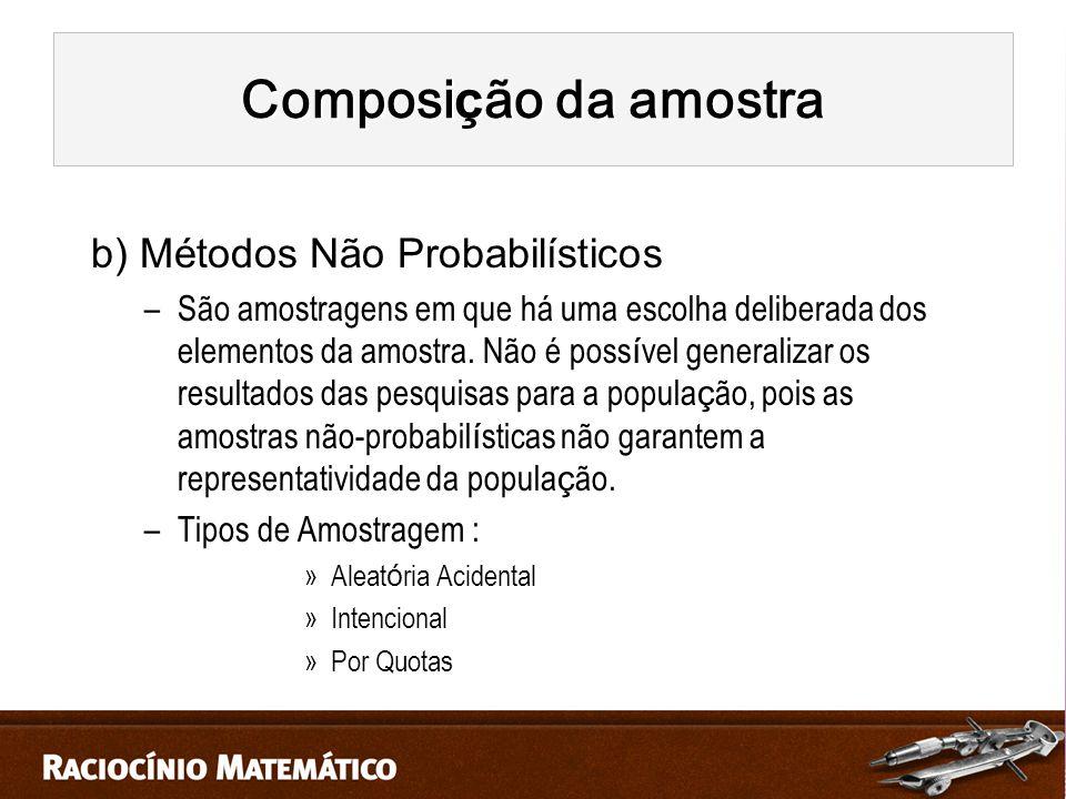 Composição da amostra b) Métodos Não Probabilísticos