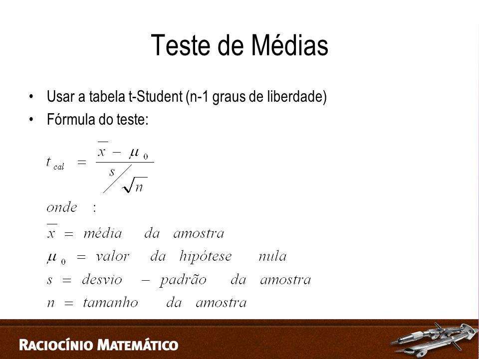 Teste de Médias Usar a tabela t-Student (n-1 graus de liberdade)