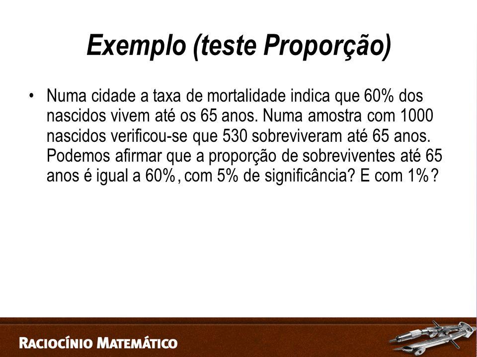 Exemplo (teste Proporção)